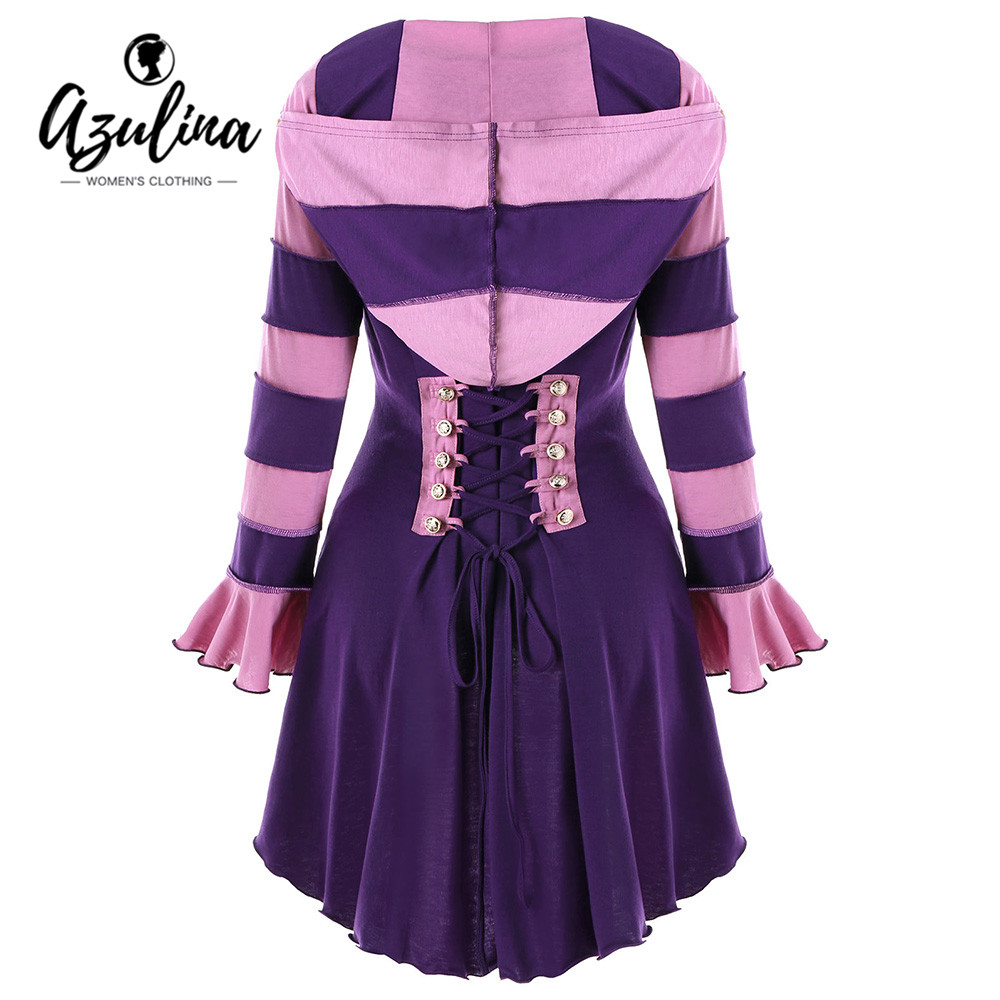 AZULINA Gothic   Trench   Coat Women Winter Hooded Double Breasted Corset High Low Long Coats Womens Outerwear Ladies Tops   Trench