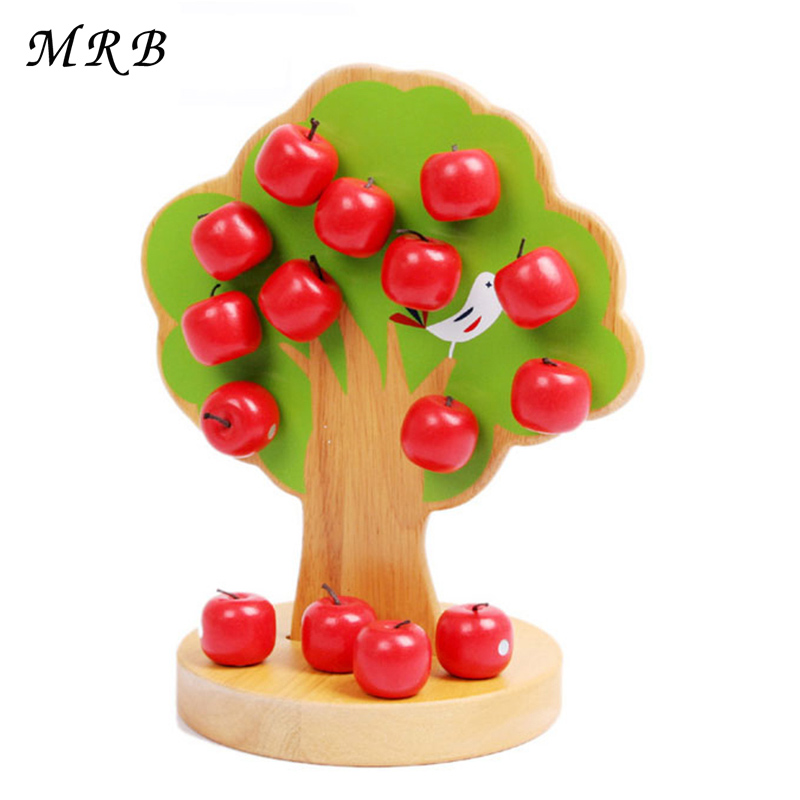Baby Toys Magnetic Wooden Apple Tree Family Game Play House Kids Educational Montessori Toys Size 23.2*15cm ball run track game toy wooden puzzles diy mini tree baby kids education puzzles fun kids toys m3011