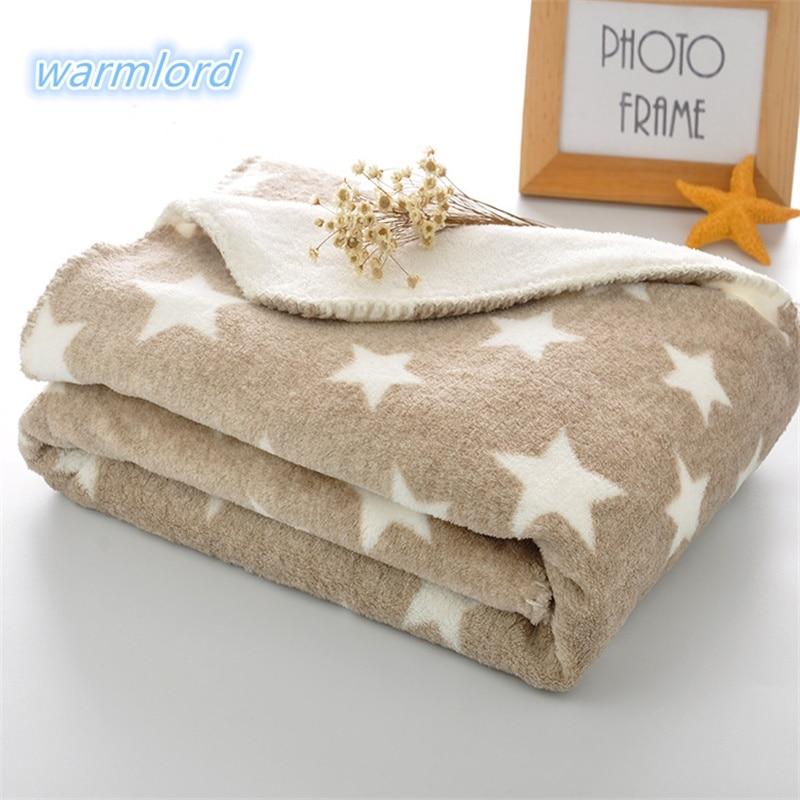 2 Layers Thick Winter  Kids Blanket Grey Star Super Soft Fluffy  Toddler  Baby Blanket Bedding Quilt Swaddle Back Seat Blanket