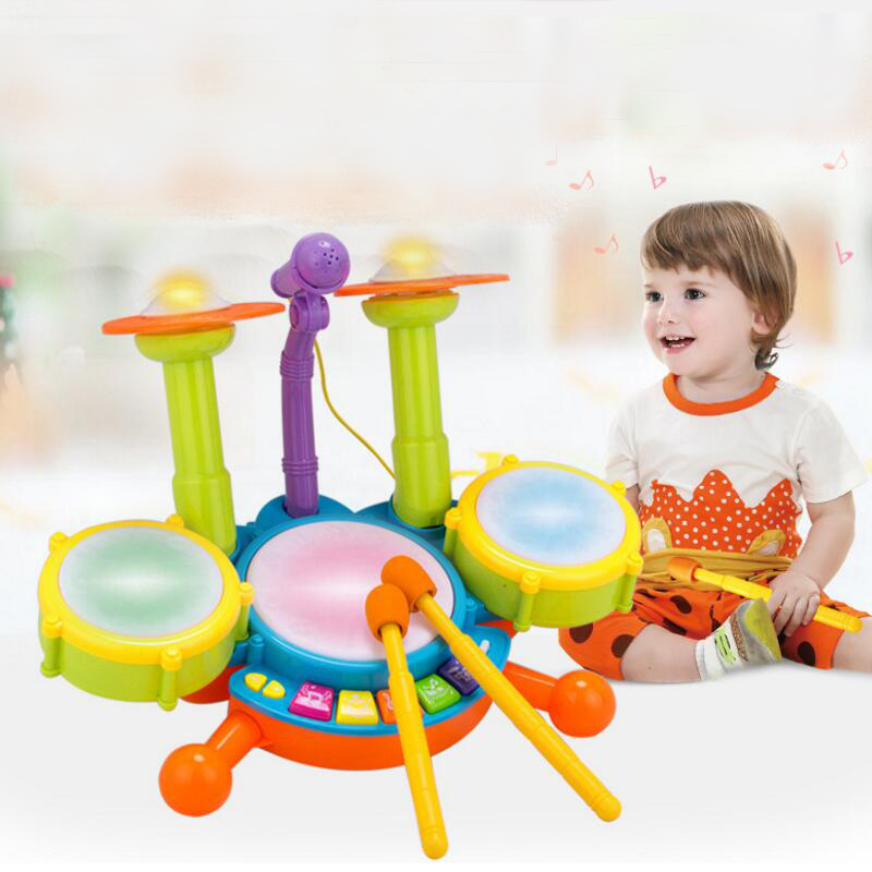 Drums Electric Light Toys Jazz Drum Baby Early Learning Puzzle Music Drumming Musical Instruments Good Quality