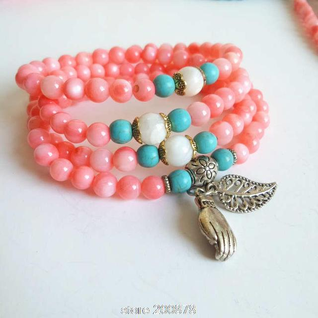 Excellent BB 038 Pink Conch Sehll 6mm Beaded Bracelets for cute girls  KS48