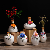 Handmade Pinch Flower Ceramic Vase Without Artificial Flower Mini Decorative Flower Vase Modern Home Decors