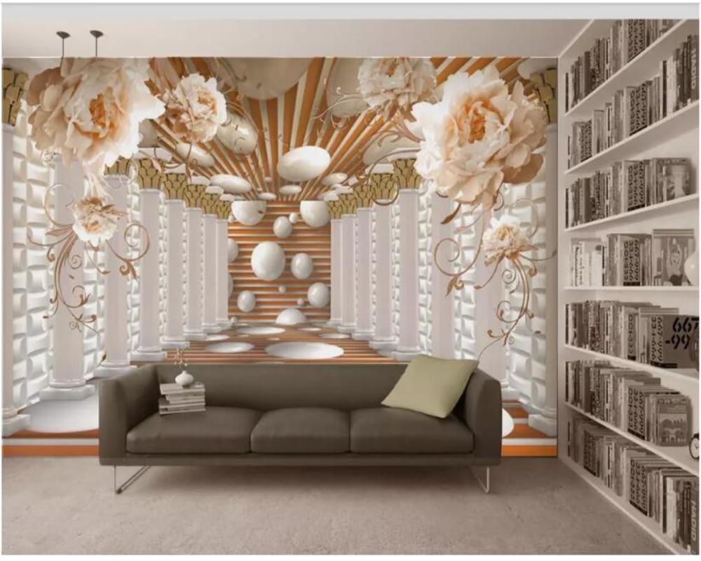 beibehang papier peint Custom Peony true flower Roman column European 3D TV background wall painting wallpaper hudas beauty in Wallpapers from Home Improvement