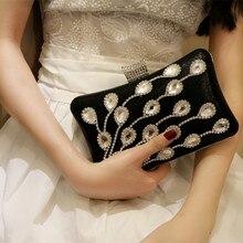Hot Kristallrhinestones Frauen Pu-leder Hochzeit Cocktail Handtaschen Kupplung Braut Metall Box Clutches Schultertasche