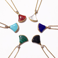 Classic Skirt Sector Necklace Red Blue White Black Colors Natural Gem Stone Necklaces For Women Love Gift DJN008