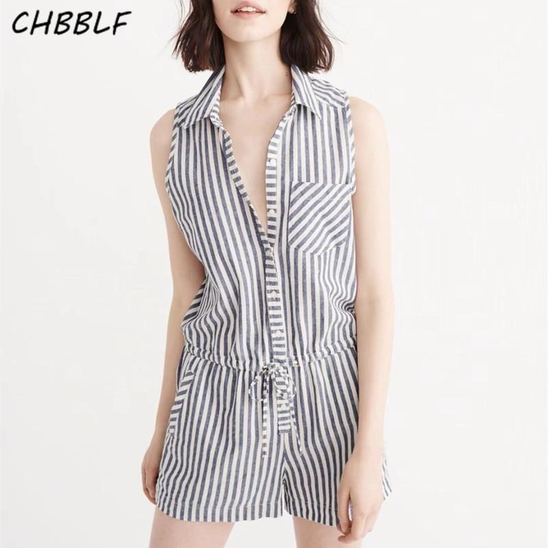 New Summer 2017 European Sleeveless Shirt Collar Drawstring Waist Shorts Playsuits Casual Striped Jumpsuit Women Tgb717