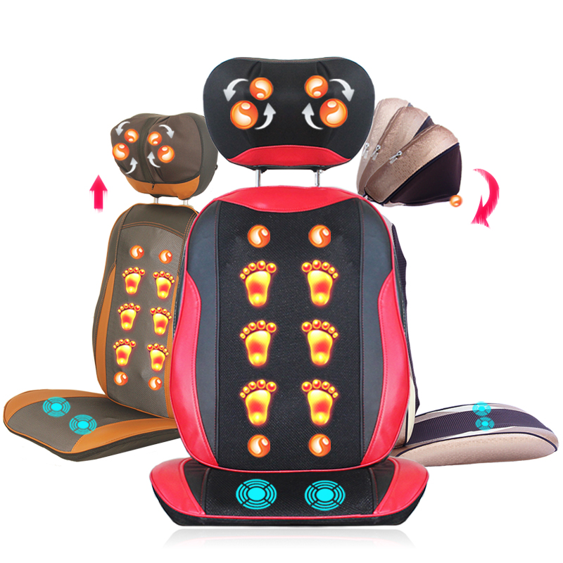 back massage chair black linen covers portable full body electric vibration cushion seat neck waist pad cervical vertebra massager heating