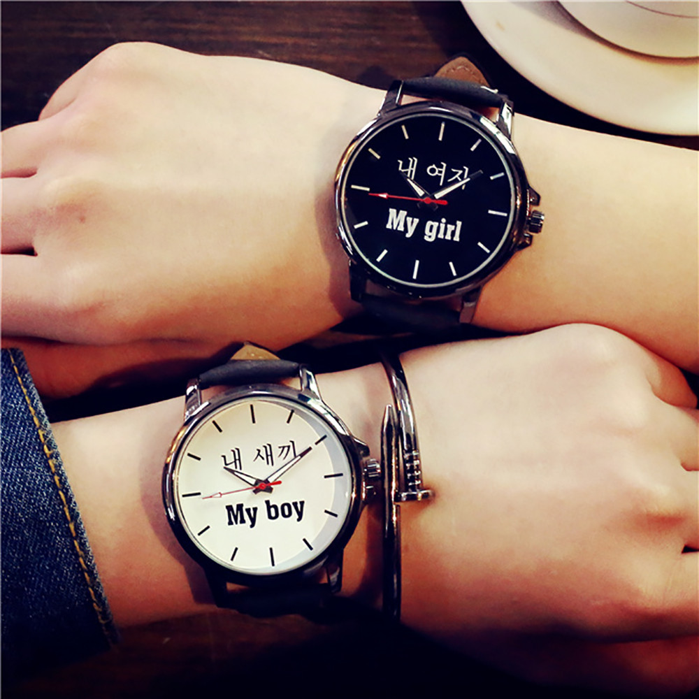 Fashion Korea Couple Watches Popular Woman Man Casual Leather Quartz Watch Minimalism Lover's Gift Clock School Student Clock