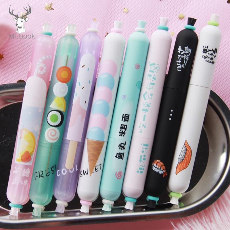 8pcs/Set Creative Sausage Shape Gel Pen 0.5mm Signing Pen Black Smooth Ink For Student School/Office Worker Stationery