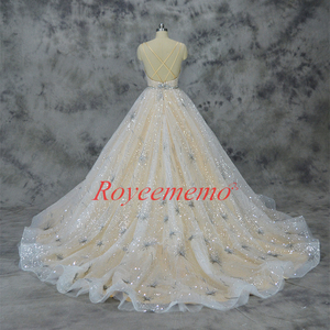 Image 4 - Vestido de Noiva glänzende spitze design hochzeit kleid pailletten spitze brautkleid nach maß fabrik großhandel preis braut kleid