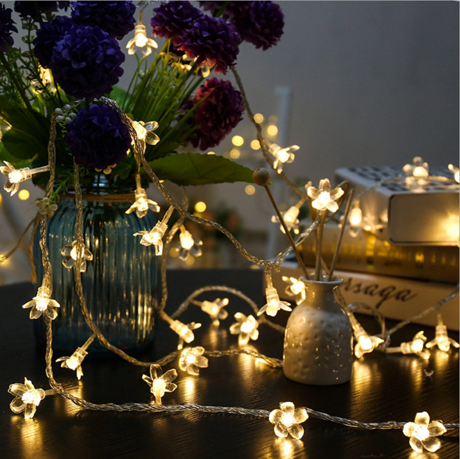 YINGTOUMAN 2pcs/lot Peach Blossom Christmas Holiday Party Garden String Lights Outdoor Decorative Lamp 10M USB 100LED