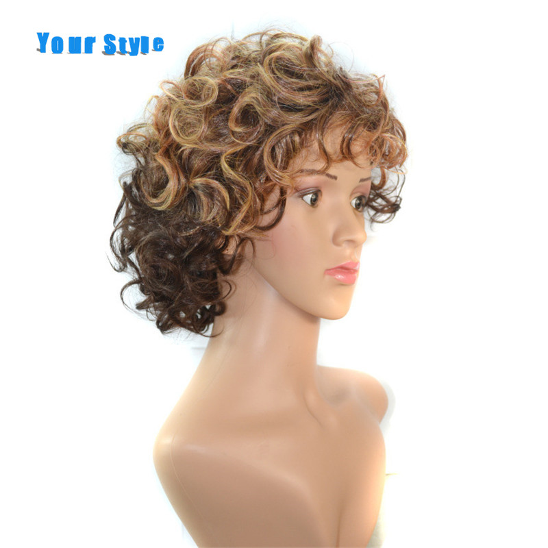 Your Style Short Kinky Curly Afros Wigs For Black Women Brown With Blonde Natural Hair Wigs