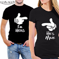 YEMUSEED Valentine I'm Hers He is Mine Couple <font><b>T</b></font> <font><b>shirt</b></font> Harajuku Leisure Tumblr Tees Hipster Tops WMT311