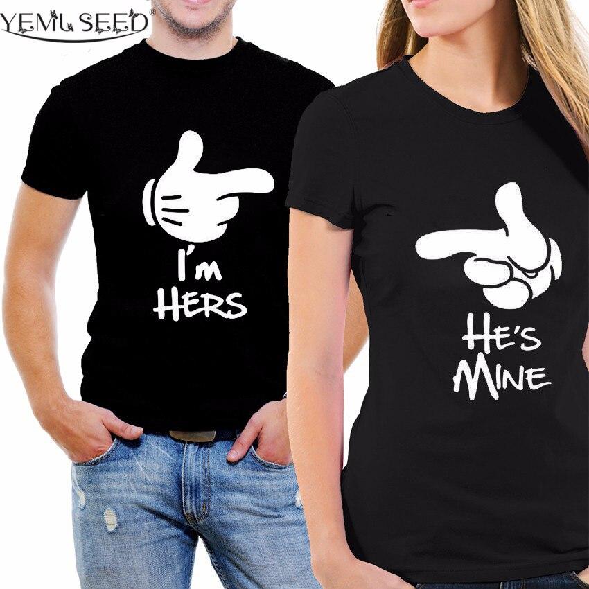 Yemeued valentine eu sou dela ele é meu casal t camisa harajuku lazer tumblr tees hipster topos wmt311