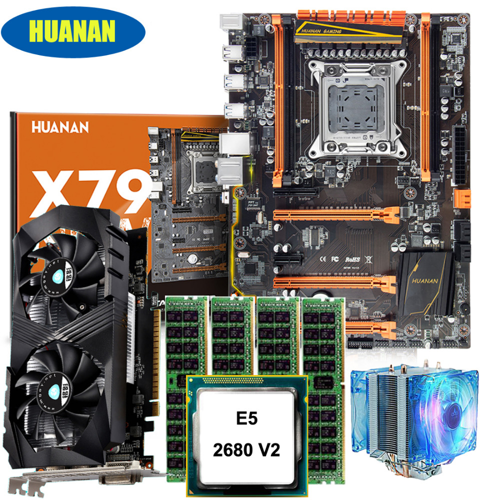 HUANAN deluxe X79 motherboard CPU Xeon E5 2680 V2 with cooler RAM 64G(4*16G) DDR3 1600MHz RECC GTX1050ti 4G DDR5 video card huanan x79 motherboard diy set cpu xeon e5 2680 v2 ram 32g 4 8g ddr3 recc 500watt psu video card gtx1050ti 240g sata3 0 ssd