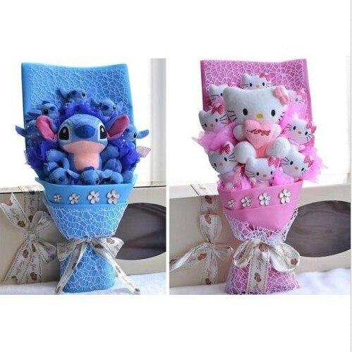 Плюшевые Игрушки букет Выпускной Подарок Hello Kitty/Стежка Цветок Плюшевые Куклы Букет Большой Валентина Свадебный Подарок На День Рождения FW104