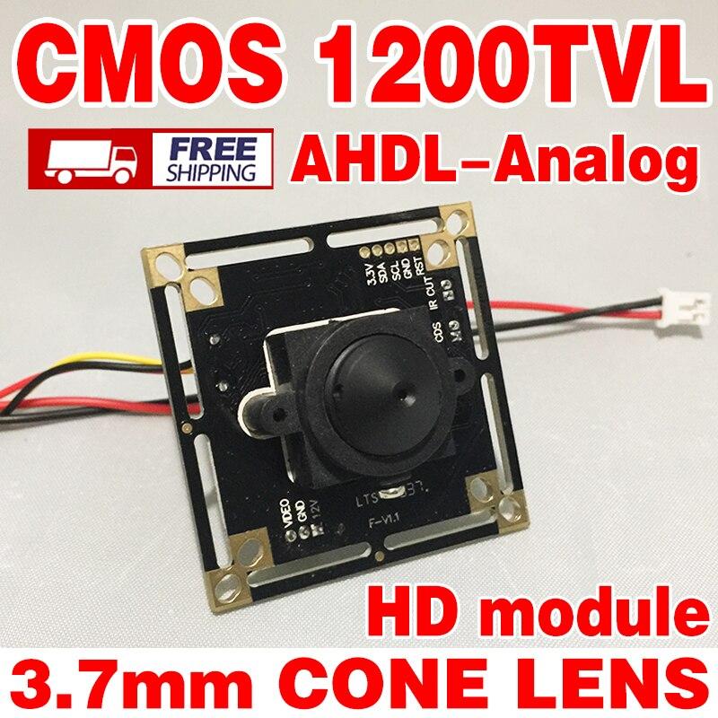 3.7mm cono lente HD di Colore 1/4 CMOS Analog 1200TVL 960 p Finito del Monitor della macchina fotografica modulo del circuito integrato a ircut + cavo integrazione bordo