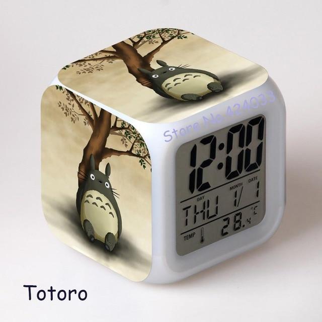 enfants reveil totoro japonais anime catoon numerique led montre horloge de bureau couleur lumiere vintage horloge