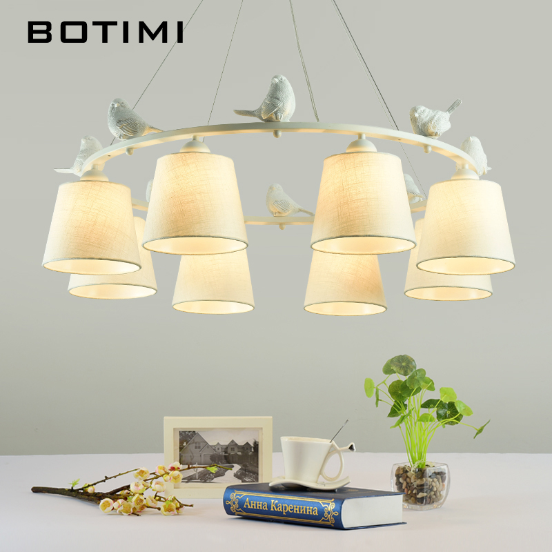 BOTIMI White Birds LED Chandelier with Linen Lampshades E27 Cloth Chandeliers For Living Room Romantic Kitchen Lighting Fixtures-in Chandeliers from Lights & Lighting