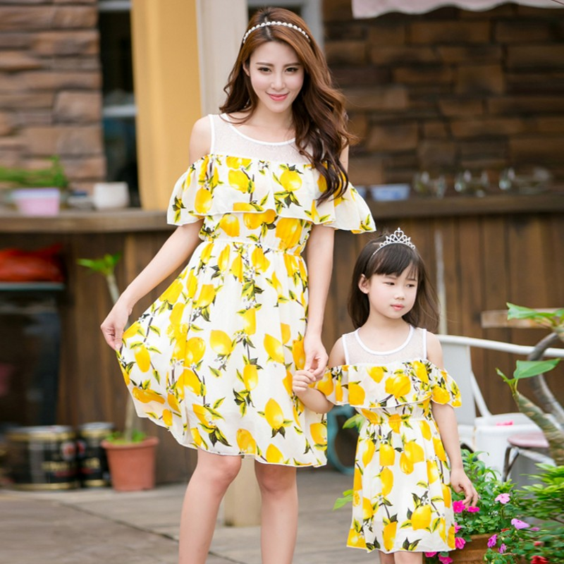 Free shipping summer Mother daughter dresses baby Girls Dress Family look Outfits Yellow lemon printing women girl wedding dress
