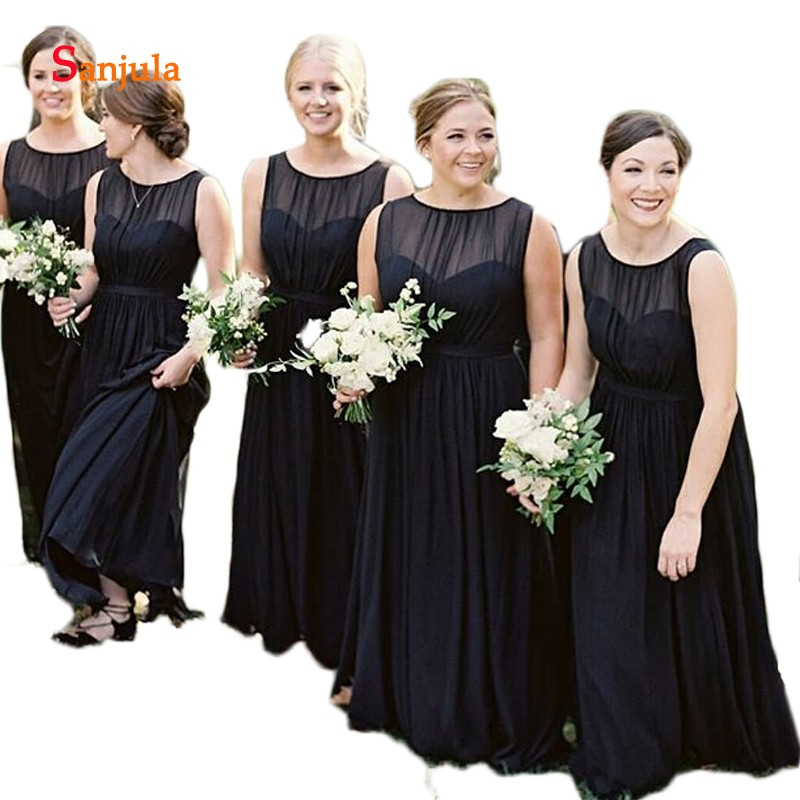 Black Chiffon Bridesmaid Dresses Sheer Top Scoop A-Line Wedding Party Dress For Women Simple Long Prom Dress Vestidos Mujer D159