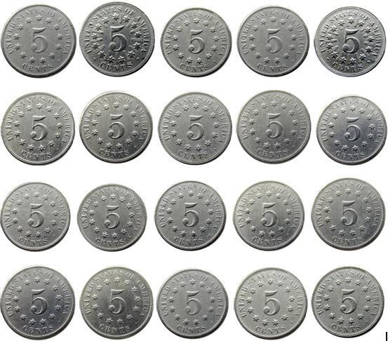 Velkoobchodní sada 1866-1883 (20ks) štítový pět centů materiál 75% měď + 25% nikl kopie mince