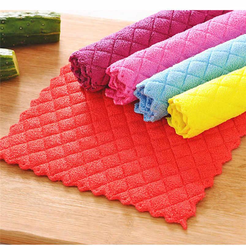 High Efficient Anti-grease Color Dish Cloth Bamboo Fiber Washing Towel Magic Kitchen Cleaning Wiping Rags 2018 Hot Sale