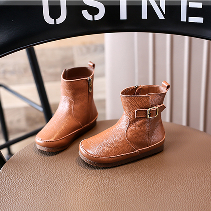 Super quality Nauhutu originals leather boots toddler girls brown flat shoes boys unisex breathable lining booties ankle buckle