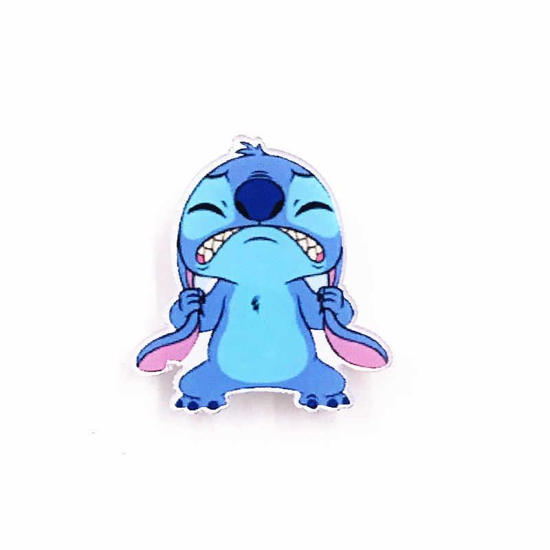 1 Pcs Lucu Kartun Marah Stitch Lencana Akrilik Bros Pin Anak Laki-laki Ransel Pakaian Syal Dekorasi Anak-anak Hadiah Lencana
