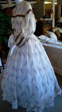 1860 ROMANTIC PRINTED VOILE RUFFLED SUMMER GOWN Medieval Clothing Victorian dress satin dress