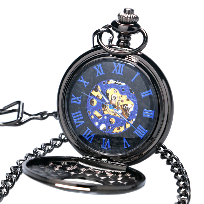 Fashion Black Hollow Case Blue Roman Number Dial Skeleton Steampunk Mechanical Pendant Pocket Watch With Chain Gift