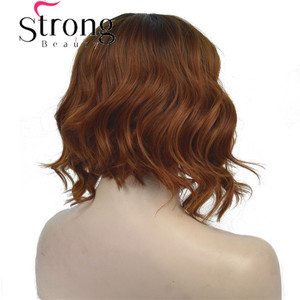 Image 3 - StrongBeauty Short Black/Brown Ombre Bob, Side Part, No Bangs Full Synthetic Wig COLOUR CHOICES