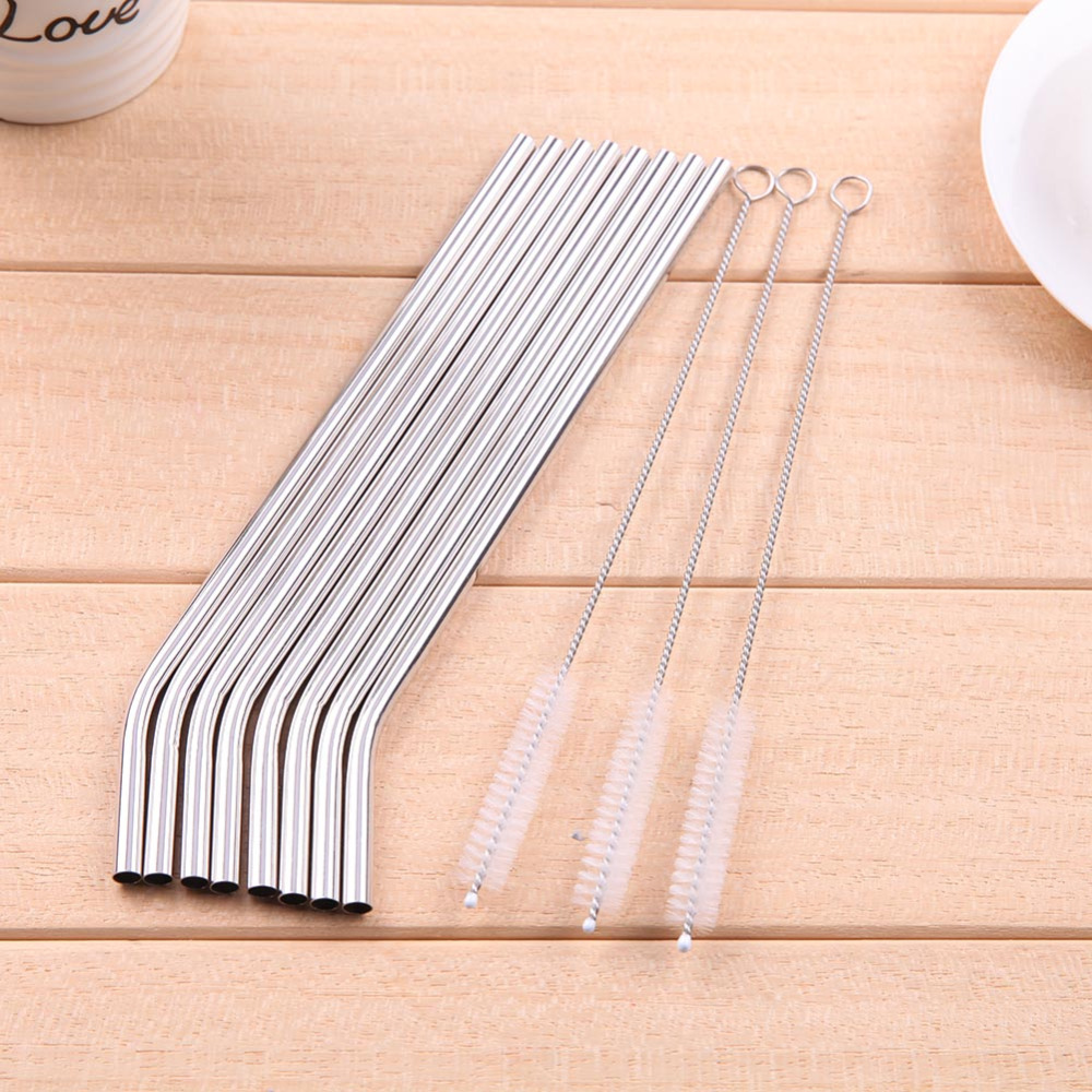 8Pcs/lot Reusable Drinking Straw in Stainless Steel with 3 Cleaner Brush 2