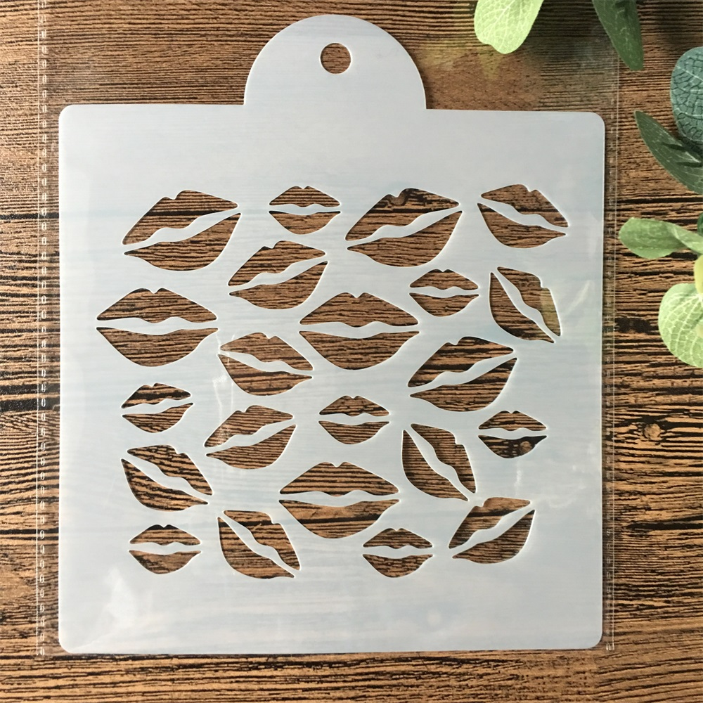 15cm Lip DIY Layering Stencils Painting Scrapbook Coloring Embossing Album Decorative Card Template