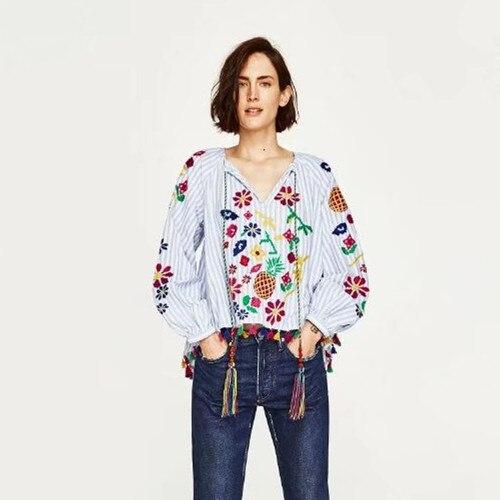Mujeres Moda emboridery Estampado floral camisa de Manga Farol blusa A Rayas Cas