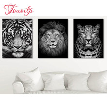 Full drill Diamond Embroidery,black and white lion/tiger/leopard diamond painting,rhinestones of picture animal mosaic,art,3pcs(China)