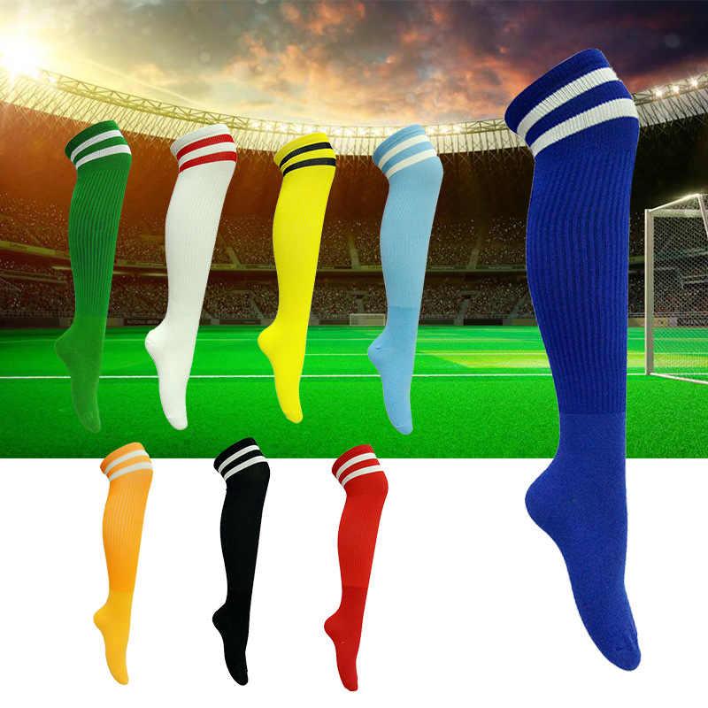Профессиональные детские длинные футбольные носки выше колена, хлопковые детские носки в полоску спортивные носки для футбола для мальчиков и девочек