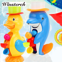 2017 New Style Baby Shower Bath Toys Cute Duck Dolphin Animal Toys Shower Faucet Bathing Water Spraying Tool Dabbling Toy XZ07
