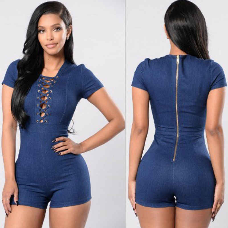 c1c4496458 Detail Feedback Questions about Women Denim Zipper Playsuit Bodycon Party  Jumpsuit Trouser Shorts Sexy Jumpsuits for Women 2018 on Aliexpress.com
