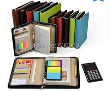 New hot A5 A6 Business notebook zipper bag comercial notepad manager folder with calculator and ruler