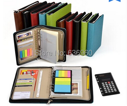New hot A5 A6 Business notebook zipper bag comercial notepad manager folder with font b calculator