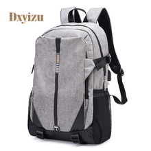 High Quality Casual Student Bag School  External USB Charge Backpacks Unisex Business Backpack Solid College bag Couple bags