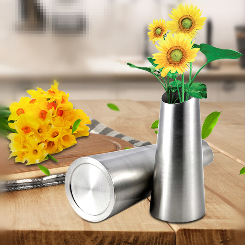 Free Shipping Stainless Steel Vase Home Decor Flower Vase 1 Piece 2 Sizes Oblique Opening