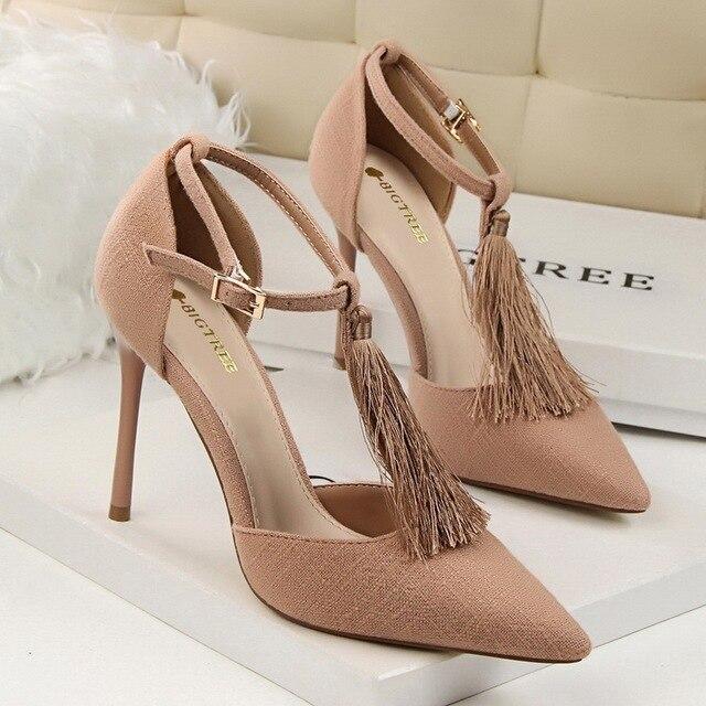 f48dff713dc5 Fashion Woman Tassel Pumps T-strap Shoes Elegant OL Ladies South Korean  Style Women High Heels Pointed Toe Wedding Shoes