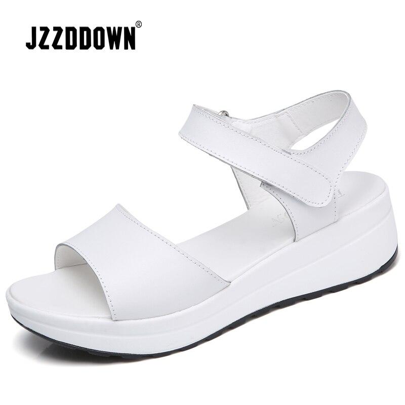 Image 3 - Женские босоножки из натуральной кожи; женские белые кроссовки на платформе; сандалии; коллекция 2018 года; летняя модная обувь на высоком каблуке с открытым носком-in Женские сандалии from Обувь