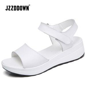 Image 3 - Genuine Leather Women sandals shoes Platform ladies white Sneakers Sandals shoe 2018 summer open toe Fashion High Heel footwear