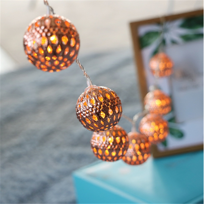 Rose Gold Iron Ball String Lights Outdoor Decoration Holiday Garland Christmas Hollow Ball Lighting Fairy Lights