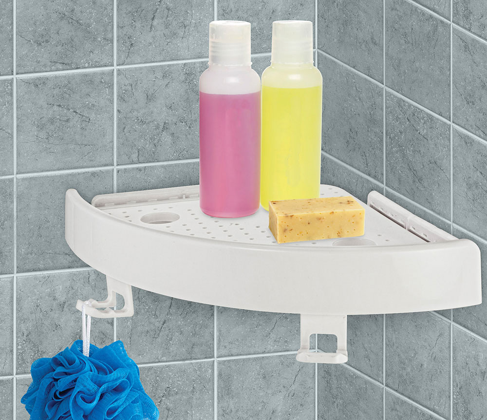 Quick Fix Corner Bathroom Storage Snap Up Shelf Suction Cup Wall Holder Rack UK