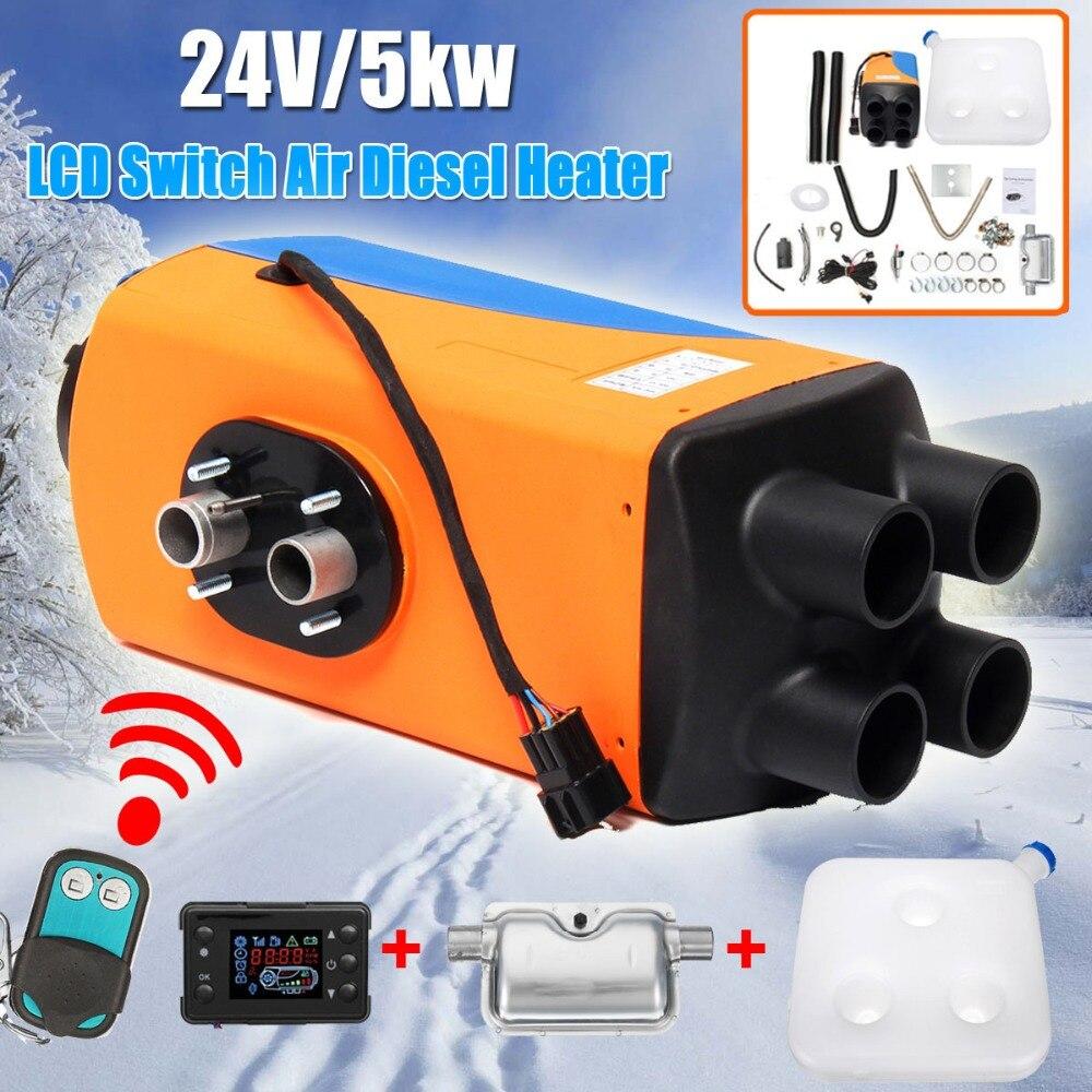 24 V Auto Riscaldatore 5KW Caravan di Parcheggio Diesel Riscaldatore 4-Fori 5000 W Riscaldamento Dell'automobile + Interruttore LCD + silenziatore per Camper Auto Accessorie