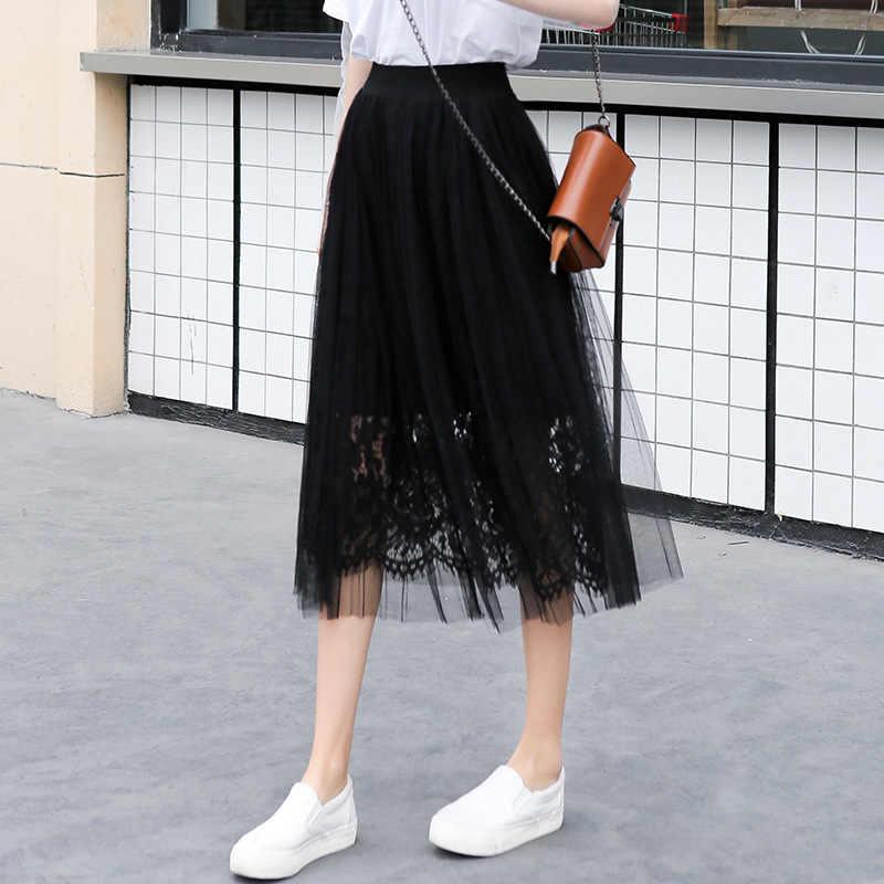 66b17c8df6 kobykoyi Summer Sweet Women Tulle Skirt Women Patchwork Lace Mesh Skirt  High Waist Pleated Casual Elegant